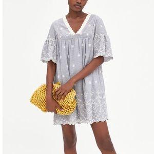 Zara Striped Dress with Embroidery